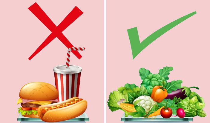 comida saudável x comida ruim