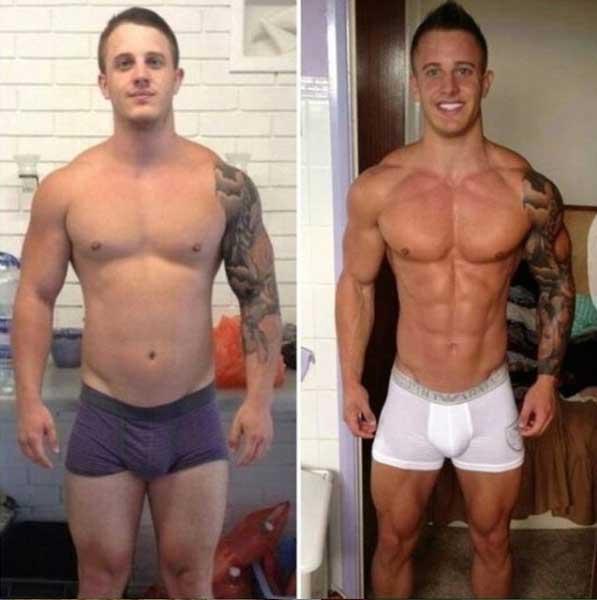 antes e depois jejum intermitente-homem